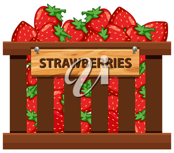 A crate of strawberries illustration
