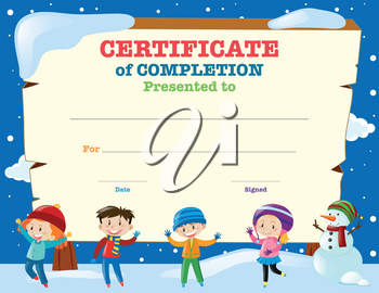 Certificate template with kids in the snow illustration