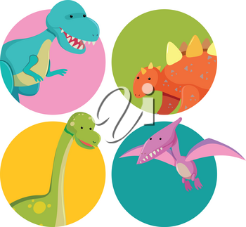 Sticker designs with cute dinosaurs illustration