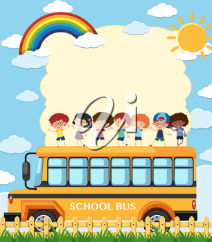 Border template with kids on school bus illustration