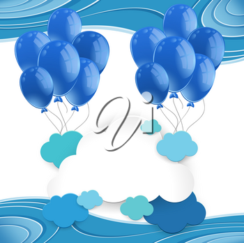 Blue balloons floating in blue sky illustration