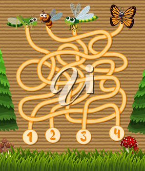 Puzzle game template with insects in garden illustration