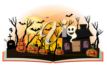 Halloween book with jack-o-lantern and haunted house illustration
