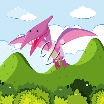 Pterasaur flying over the mountain illustration