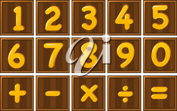 Number one to zero and math signs on wooden boards illustration