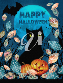 Happy Halloween greeting card. Spooky background with autumn tree, black cat, bat flying in the night over dark forest with pumnkins in the fallen leaves on a full moon background.
