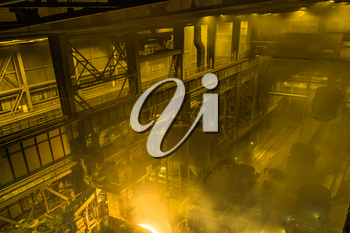 Electric arc furnace. Steel melting plant. Metal foundry
