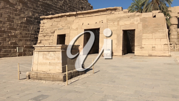 Buildings and columns of ancient Egyptian megaliths. Ancient ruins of Egyptian buildings