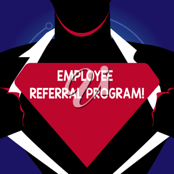 Writing note showing Employee Referral Program. Business concept for internal recruitment method employed by organizations Man Opening his Shirt to reveal the Blank Triangular Logo