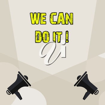 Conceptual hand writing showing We Can Do It. Concept meaning see yourself as powerful capable demonstrating Blank Spotlight Crisscrossing Upward Megaphones on the Floor