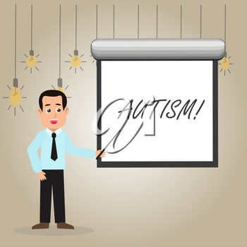 Writing note showing Autism. Business concept for Autism Awareness conducted by social committee around the globe Man in Necktie Holding Stick Pointing White Screen on Wall