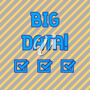 Text sign showing Big Data. Business photo text extremely large sets that may be analysed to reveal patterns Seamless Diagonal Pattern of Pale Gold and Silver Stripes for Formal Theme