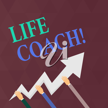 Writing note showing Life Coach. Business concept for demonstrating employed to help showing attain their goals career Hands Holding Zigzag Lightning Arrow Pointing and Going Up