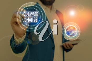Handwriting text Climate Change. Conceptual photo change in the expected pattern of average weather of a region Elements of this image furnished by NASA