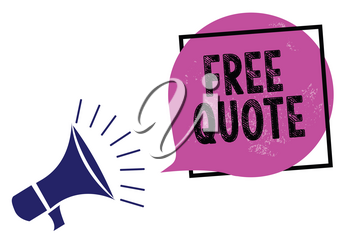 Handwriting text Free Quote. Concept meaning A brief phrase that is usualy has impotant message to convey Megaphone loudspeaker speaking loud screaming frame purple speech bubble