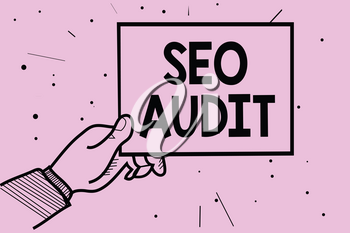 Word writing text Seo Audit. Business concept for Search Engine Optimization validating and verifying process Man hand holding paper communicating information dotted purple background