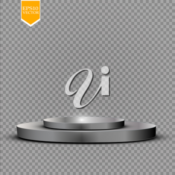 Realistic round white display podium isolated on transparent background. Perspective circle plinth, pillar, pedestal. Vector cylinder empty stage platform stand with light for your advertising design. EPS 10