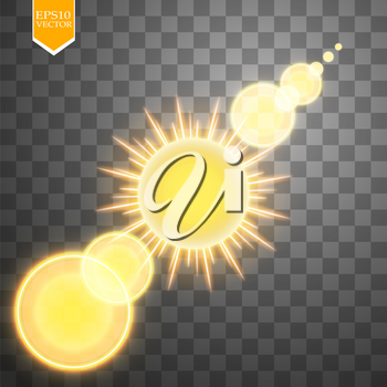 Abstract gold Sun and energy ring on transparent background. Sun. Vector.