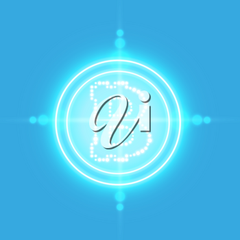 Bitcoin with neon target on the blue background with light. Vector