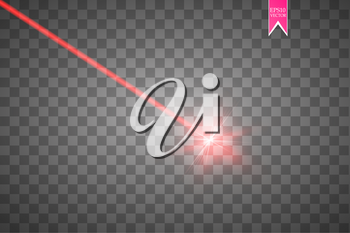 Abstract red laser beam. Vector illustration.the lighting effect.floodlight directional.