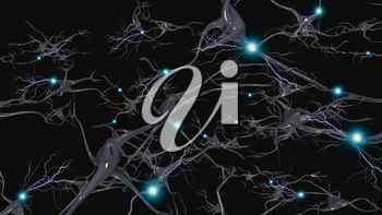 Brain cells with electrical firing