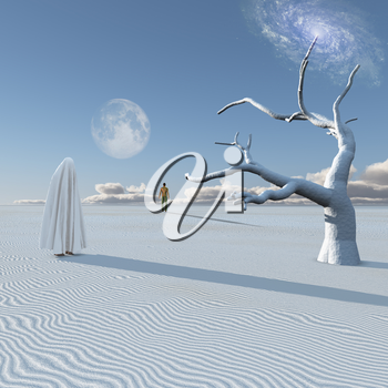 Figure in white cloth stands in surreal white desert. Lonely man in a distance. Planet Zen