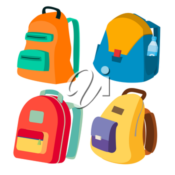 Schoolbag Set Vector. Closed Backpacks Side View. Colored School Modern Backpacks. Isolated Cartoon Illustration
