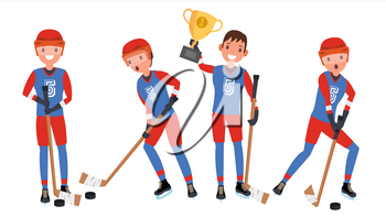 Classic Ice Hockey Player Vector. Set Player In Action. Winter Sport. Isolated On White Cartoon Character Illustration