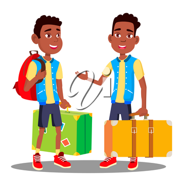 Boy With Suitcase In His Hands Vector. Black, Afro American. Illustration
