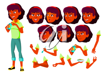 Teen Girl Vector. Indian, Hindu. Asian. Teenager. Face. Children. Face Emotions, Various Gestures Animation Creation Set Isolated Cartoon Character Illustration