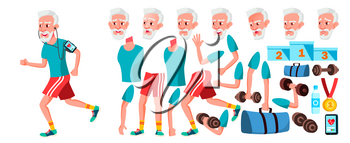 Old Man Vector. Senior Person Portrait. Elderly People. Aged. Animation Creation Set. Face Emotions, Gestures. Cheerful Grandparent. Card Design. Animated Isolated Illustration