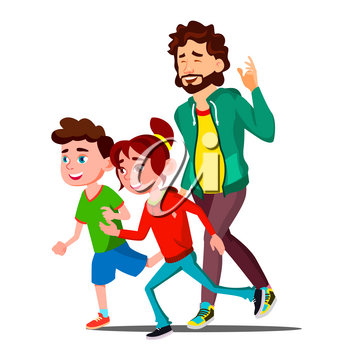 Young Sport Family With Children Running Vector. Illustration