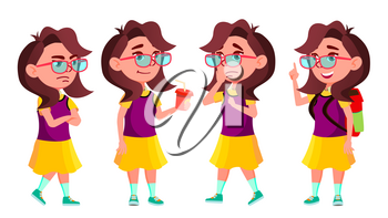 Girl Schoolgirl Kid Poses Set Vector. High School Child. Teenage. Beauty, Lifestyle, Friendly. For Postcard, Announcement, Cover Design. Isolated Cartoon Illustration