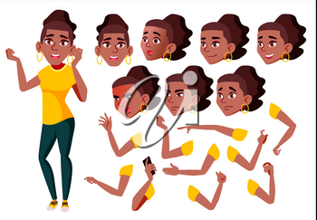 Teen Girl Vector. Black. Afro American. Teenager. Positive Person. Face Emotions, Various Gestures. Animation Creation Set. Isolated Flat Cartoon Illustration