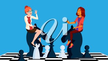 Business Competition Vector. Business Woman Riding Chess Horses Black And White To Meet Each Other. Illustration