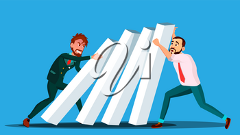 Business Competition Vector. Two Businessman From Two Sides Push Dominoes At Each Other. Illustration