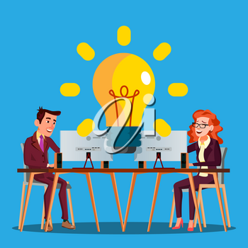 Teamwork Vector. Female And Male Characters Lighting A Large Light Bulb. Illustration