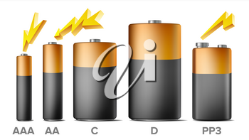 Alkaline Batteries Mock Up Set Vector. Different Types AAA, AA, C, D, PP3, 9 Volt. Standard Modern Realistic Battery. Black Yellow Template. Isolated Illustration
