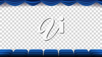 Cinema Chairs Vector. Film, Movie, Theater, Auditorium With Blue Seat, Chairs. Premiere Event Template. Super Show Isolated Illustration