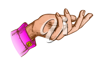 Color Elegant Girl Hand Gesture Open Palm Vintage Vector. Reaches Out, Asking Or Help Communication Gesture. Female Gesturing Designed In Retro Style Closeup llustration