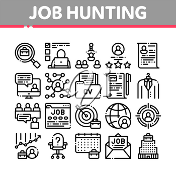 Job Hunting Collection Elements Vector Icons Set Thin Line. Hunting Business People And Recruitment Candidate, Team Work And Partnership Concept Linear Pictograms. Black Contour Illustrations