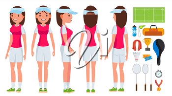 Badminton Girl Player Female Vector. Playing. Athlete In Uniform. Cartoon Athlete Character Illustration