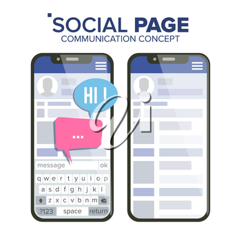 Social Page On Smartphone Vector. Speech Bubbles. Social Media App Interface. Isolated Illustration