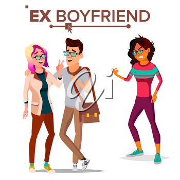 Ex Boyfriend Vector. Young Couple. Past Relationship Concept. Unhappy Woman. Divorce. Jealousy, Love Triangle. Isolated Flat Cartoon Illustration