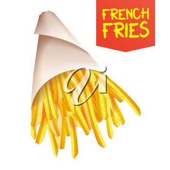French Fries Potatoes Vector. Paper Bag Container. Tasty Fast Food Potato. Isolated Realistic Illustration