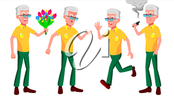Old Man Poses Set Vector. Elderly People. Senior Person. Aged. Funny Pensioner. Leisure. Postcard, Announcement, Cover Design Isolated Cartoon Illustration