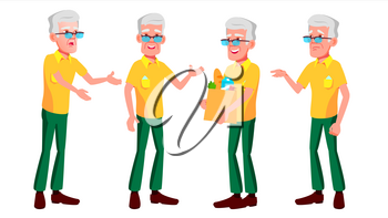 Old Man Poses Set Vector. Elderly People. Senior Person. Aged. Active Grandparent. Joy. Web, Brochure, Poster Design Isolated Cartoon Illustration