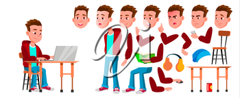 Boy Schoolboy Kid Vector. High School Child. Animation Creation Set. Face Emotions, Gestures. Child Pupil. Subject, Clever, Studying. For Banner, Flyer Web Design Animated Illustration