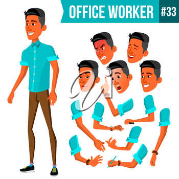 Office Worker Vector. Face Emotions, Various Gestures. Animation Creation Set. Corporate Businessman Male. Isolated Cartoon Illustration