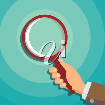 Hand Holding Magnifying Glass Vector. Information Research. Detecting Business Concept. Flat Illustration